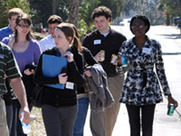 Prospective students touring the campus