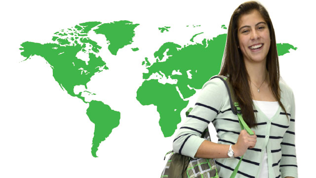 Girl in front of Map
