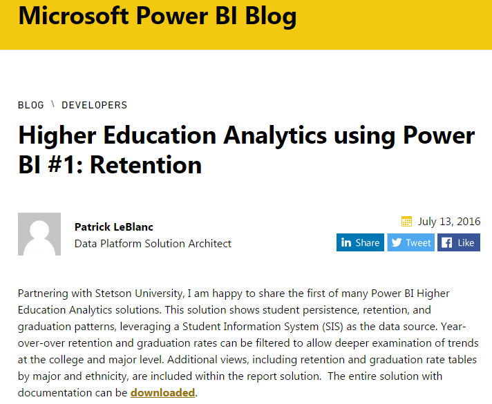 Higher Education Analytics using Power BI #1: Retention