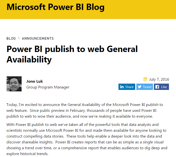 Power BI publish to web Geneal Availability