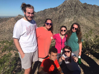 Students hiking in the Arizona desert