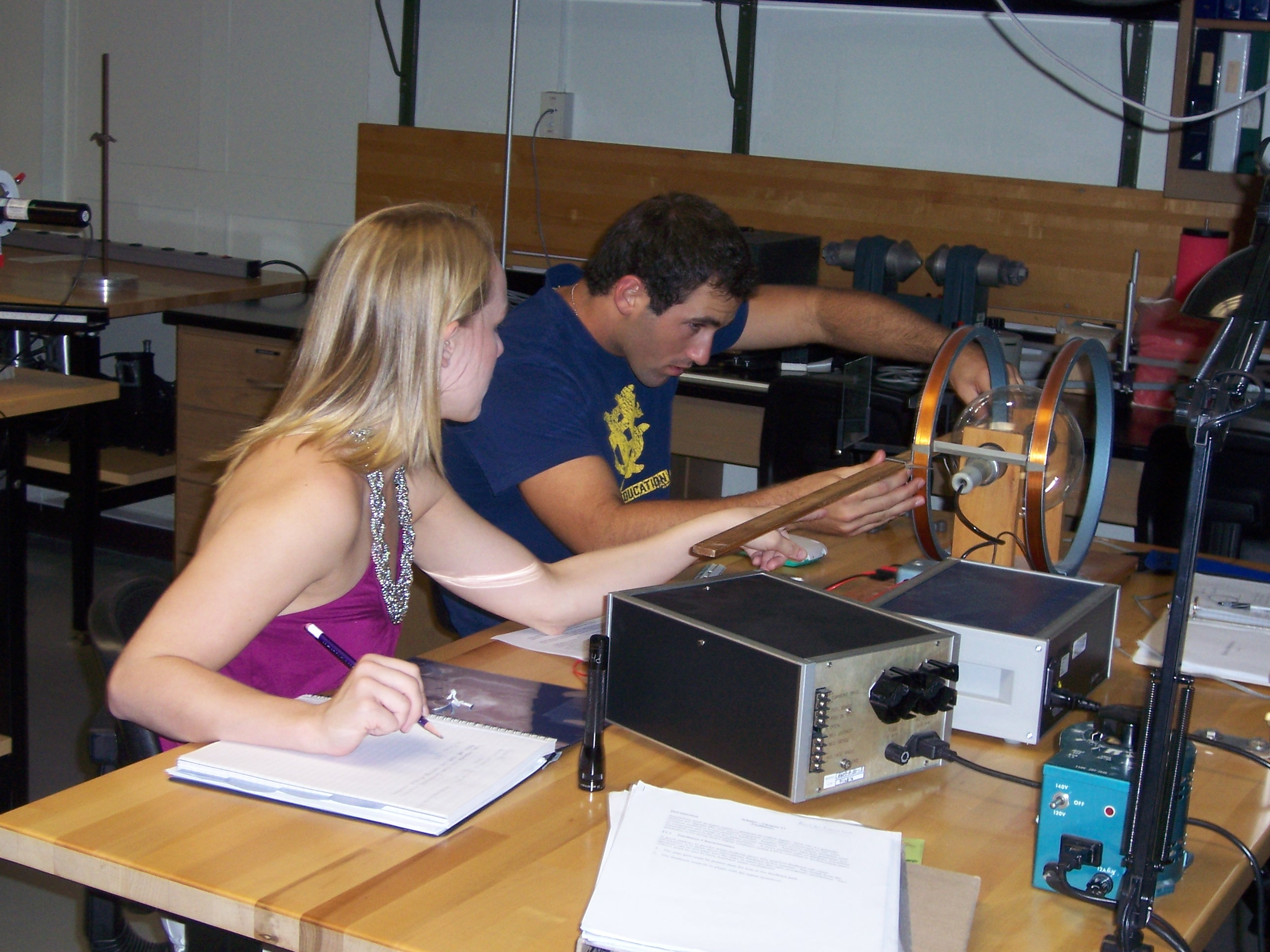 Two upper-class physics majors in one of our advanced labs.