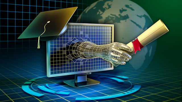 Hand Reaching out of Computer with Diploma
