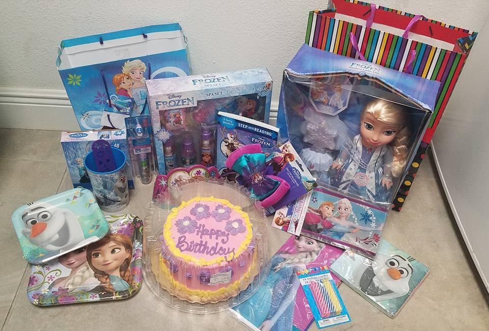 Birthday cake and presents