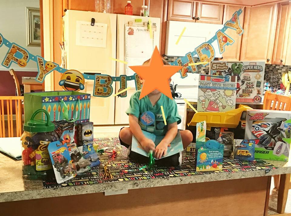 boy birthday party in kitchen