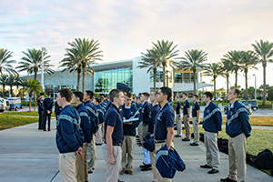 AF ROTC cadets at attention