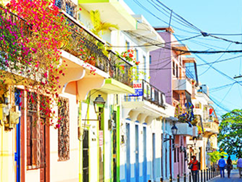 colorful street in the Dominican Republic