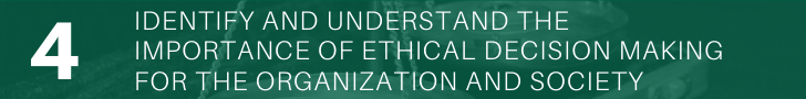 Understand the importance of ethical decision making for the organization and society