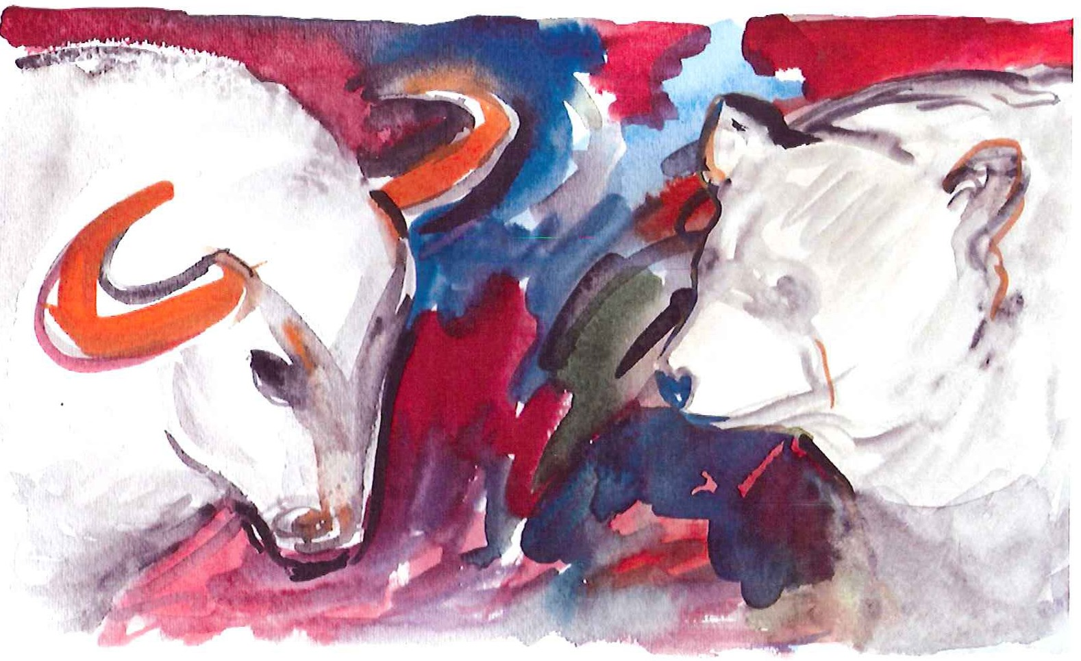 Bull v Bear Watercolor artwork by  Brenda Star