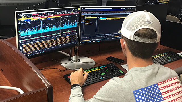student works in Bloomberg system