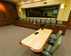 Jury box and attorneys' table in Eleazer Courtroom at Gulfport campus