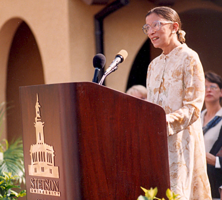 U.S. Supreme Court Justice Ruth Bader Ginsburg delivers keynote speech at the dedication of the Law Library in 1998