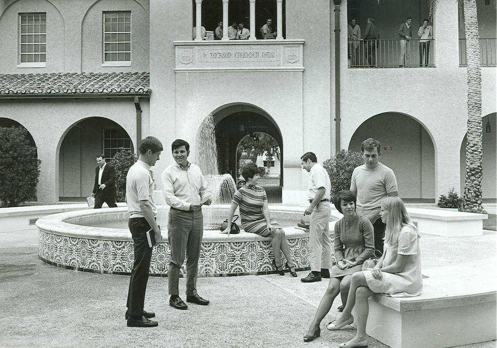Students in the courtyard in the 1970's