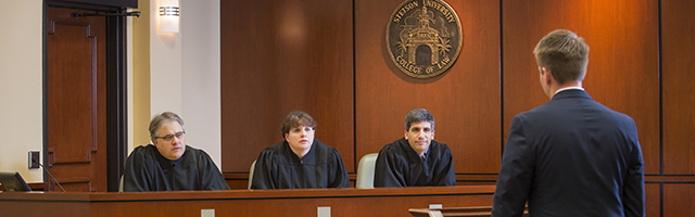 students practice in Eleazer Courtroom