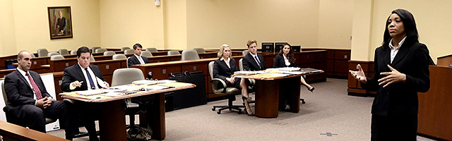 students participate in a Trial Team practice
