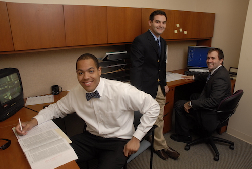 Three Stetson students at an externship