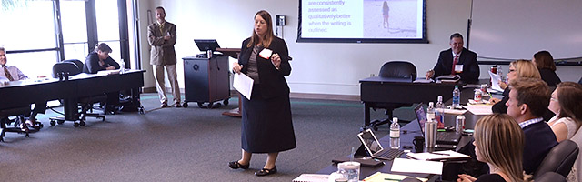Professor Cameron teaches a seminar class