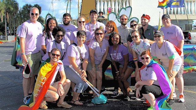 Lambda student organization during Pride parade