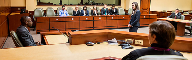 students in Eleazer courtroom on Gulfport campus