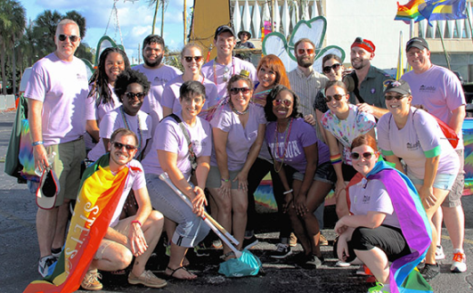 Group of Stetson community members at LGBTQ parade