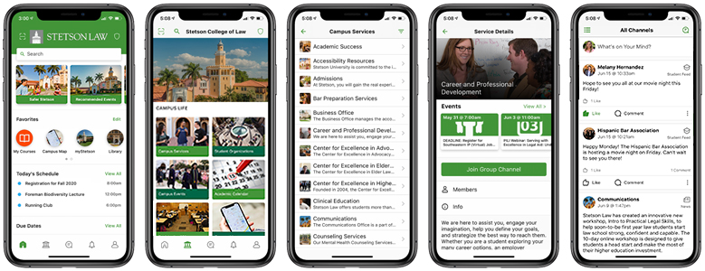 Screenshots of mobile app