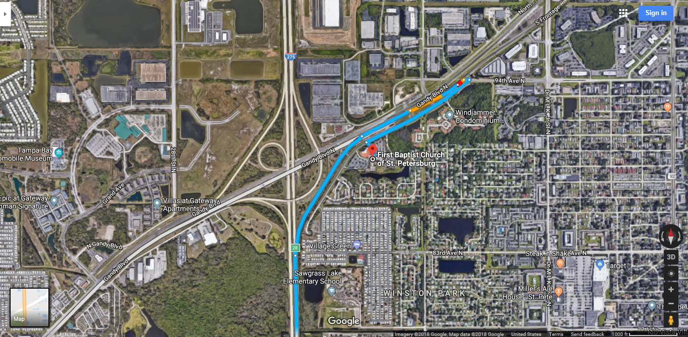 satellite map to alternate commencement site