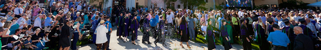 Stetson Law graduates in the courtyard