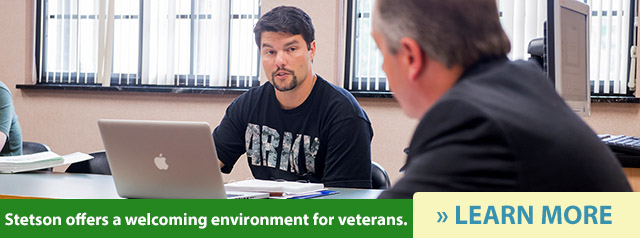 Stetson offers a welcoming environment for veterans. Learn more.
