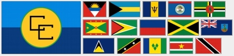 Caribbean Community logo and flags of member states and associate members