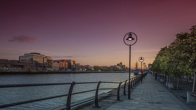 Dublin skyline at dusk