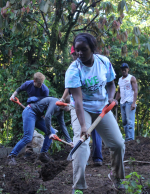 Two students performing irrigation work in the Dominican Republic, 2017