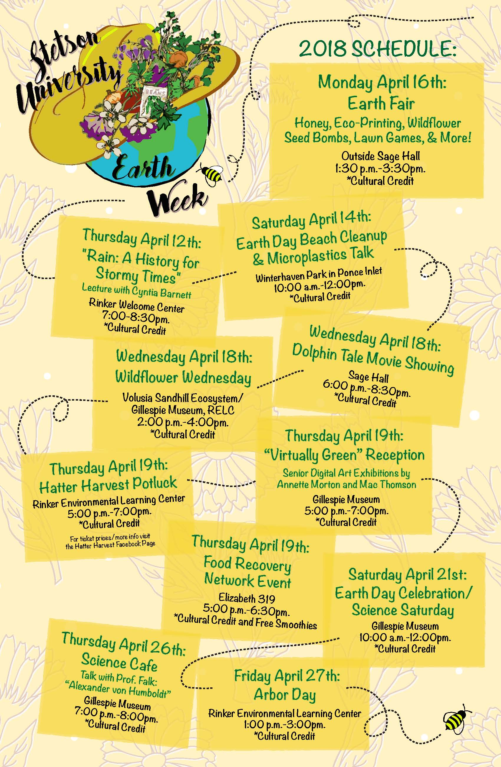 4595c930 Come out and enjoy Earth Week at the Gillespie Museum. Earth Day has been  celebrated on the Stetson University campus since its inception on April  22, 1970.