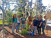 Ben Chase (center) extended his interest in native pollinators by trapping and identifying insects in the sandhill landscape and throughout Stetson University's campus.
