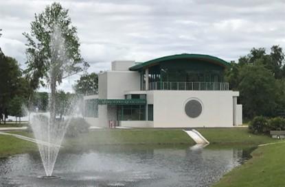Aquatic Center building and pond