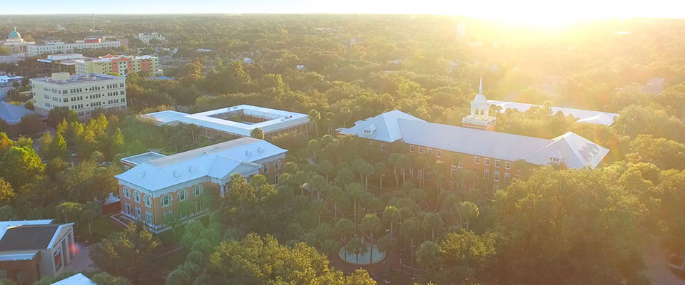 Aerial view of the Palm Court on the DeLand campus.