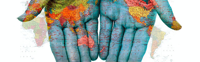 World Map Projected on Hands